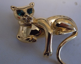 """Vintage brooch, signed """"D'Orlan"""" lounging cat with emerald eyes brooch, figural brooch"""