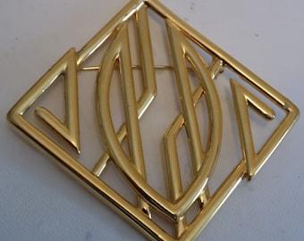 Vintage brooch, signed Monet modernist retro gold plated brooch, statement brooch, Monet jewelry