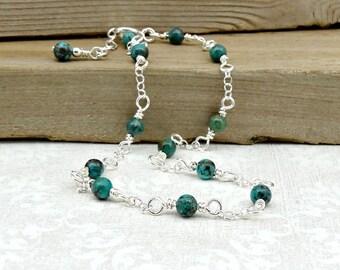 African Turquoise Anklet - Blue Green Gemstones - Sterling Silver Anklet - Dainty Ankle Bracelet