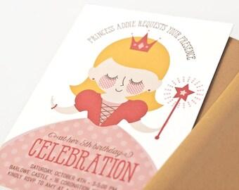 Princess Birthday Party Invitation, Custom Portrait Invite, Girl // PRETTY PRINCESS