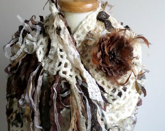 Shabby Chic Shawl By Crochetlab, Fall and Winter ,  Fall Fashion, ivory and brown shades ribbons