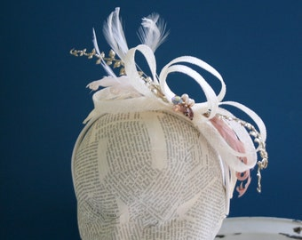 Ivory and Pastel Fascinator Headband, Silver and Heather ,  Posh Retro Style Headband, Whimsy
