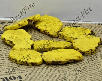 15 inch Dyed Yellow Turquoise nugget gemstone beads,Turquoise Nugget Random Gemstone Bead loose strands