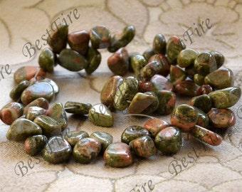 Single unakite stone drop shape nugget beads,unakite loose semi-precious stone beads,loose strands