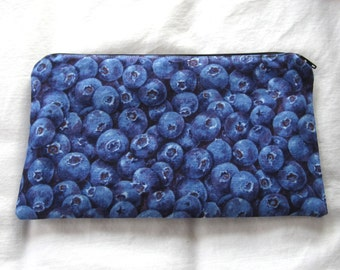 Blueberries Fabric Zipper Pouch / Pencil Case / Make Up Bag / Gadget Pouch