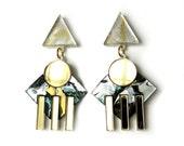 COLONNADE Statement Earrings in Tiger's Eye and Pearl Marble - Marble Earrings, Geometric, Modern Earrings, 90s Earrings, 90s Jewelry