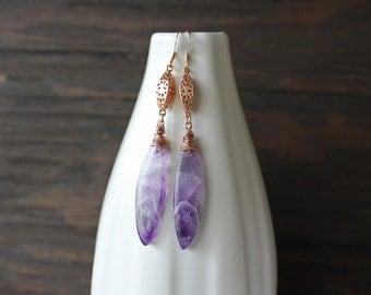 Amethyst earrings, rose gold and amethyst earrings