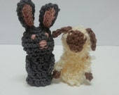 Grey Rabbit Finger Puppet, Lamb Finger Puppet, Bunny, Sheep Puppet, Toy, Small Animal Puppets