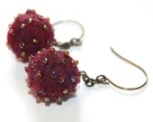 Felted Wool Burgundy Balls with Delica Seed Beads - fiber, brass, glass, handmade