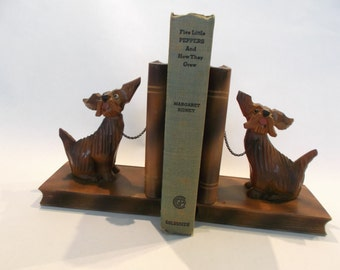 SALE Bookends, Wooden Scotty Dogs Sitting on Books 1940s Bookends Dog Bookends Mid Century Bookends
