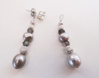 Vintage 1920's grey pearl Sparkle silver Labradorite Earring jackets bridal evening