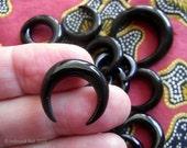 Mini Horns of My Dilemma Carved Black Horn Crescent Pendant Bead 20mm