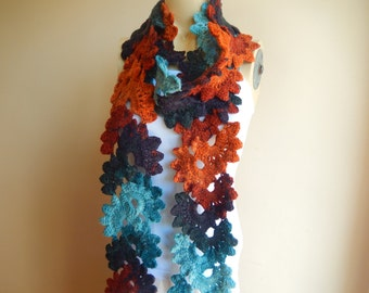 Lace Crochet Scarf -Burnt Orange, Turquoise and Teal Crochet  Scarf-Long Scarf-Handmade Neckwamer-