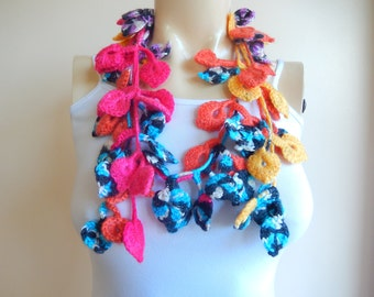 Vivid Crochet Scarf-Leaves  Necklace Scarf-Multicolor Lariat Scarf-Necklace Lariat Scarf