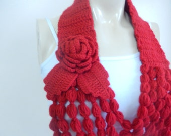 Red Crochet Necklace- Flower Necklace Scarf-  Jewelry Scarf-Handmade Loop Scarf -Crochet Infinity