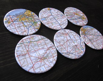 Ohio Vintage Map Coasters (Set of 6)