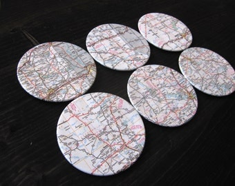 Texas Vintage Map Coasters (Set of 6)