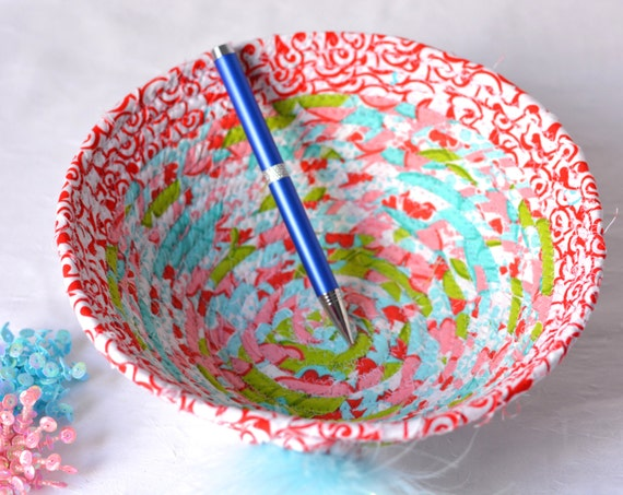 Baby Shower Gift Basket, Handmade Makeup Organizer, Lovely Red and Aqua Bowl, Cute Gift Basket, Desk Accessory