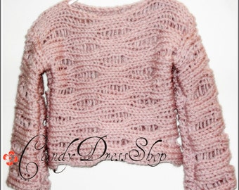 Hand knit sweater for girls, Light pink sweater, Toddler sweater, Girls pink pullover, Children sweater, Baby sweater, Kids pullover