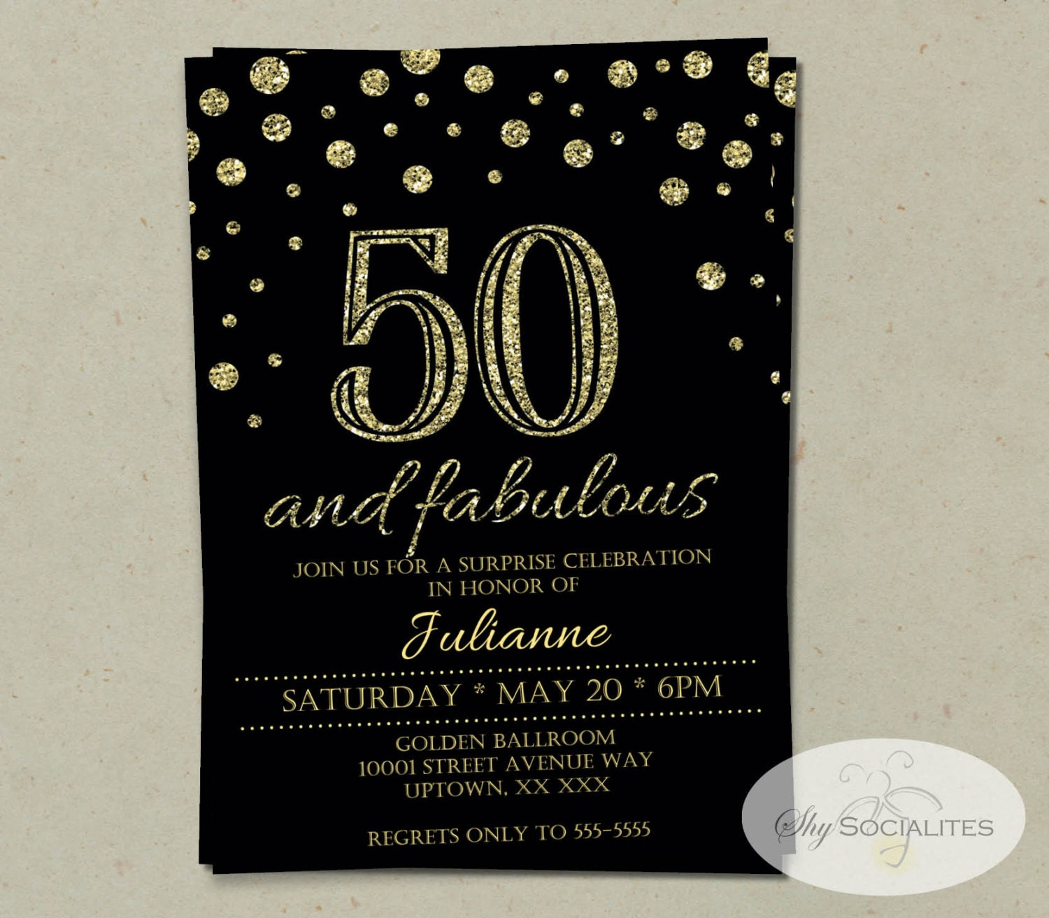 Glitter Fifty And Fabulous: 50 And Fabulous Glitter Confetti Birthday Invitation INSTANT