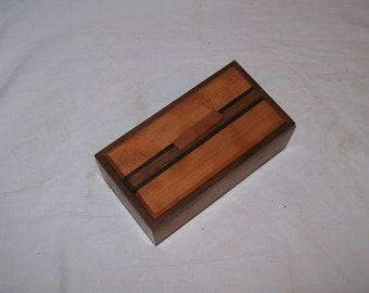 Small wooden box Fancy Cherry with Walnut trim and inlay catch all box