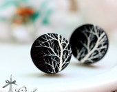 20% off -NEW Unique 3D Embossed Tree 16mm Round Handmade Wood Cut Cabochon to make Rings, Earrings, Bobby pin,Necklaces, Bracelets-(WG-196)
