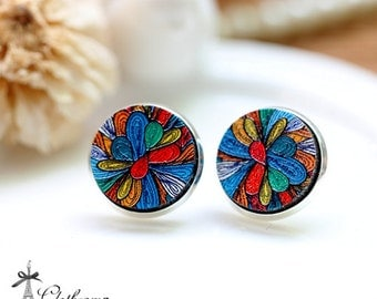 20% off -NEW Unique 3D Embossed  Flower 16mm Round Handmade Wood Cut Cabochon to make Rings, Earrings,Necklaces, Bracelets-(WG-64)