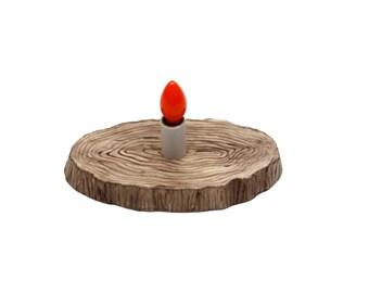 Wood Slab Nightlight  -  Working - Ceramic - Candle Light - Vintage 1970's - Handmade