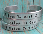 SET of 9 Custom Cuff Bracelets Hand Stamped Aluminum Wedding Bridal Party Gifts Personalized Bachelorette