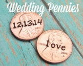 Bulk WEDDING FAVORS For Guests Stamped 2016 Pennies Take Home Gift Initials Date Word Love Token Individually Packaged With Holes Or Without
