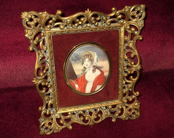 Large Cameo Creation Wall Hanging Antique Gold Frame Oval Portrait Print Vintage