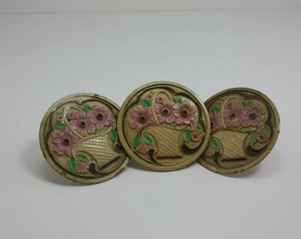 Vintage Metal Floral Curtain Tie Backs Pin Back Pink Floral Basket 3 Pieces