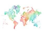 5x7, 8.5x11or 11x14  - Pastel World Map Print