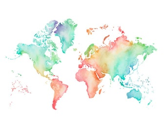 5x7, 8.5x11or 11x14  - Pastel World Map Print