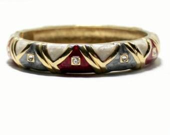 Enamel Clamp  Rhinestone Bangle 1980s Pearlized Enamel Abstract Bangle Vingtage Enamel  Costume Jewelry 80s Fashion Bangle Bracelet Boho