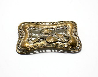 Victorian Sash Brooch  Bronze Morning Glory Design  Filigree  Art Nouveau Sash Pin  Stamped Metal C Clasp Antique Jewelry Edwardian Art Deco
