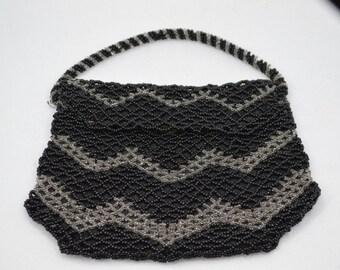 Czechoslovakia Beaded Purse 1940s Beaded Bag Small Change Purse Size Bag Black and Clear Woven Bead Bag