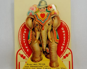 VTG Valentine Card 1994 Reproduction of 20s or 30s Valentine with Elephant and Rider Large 3D Valentine