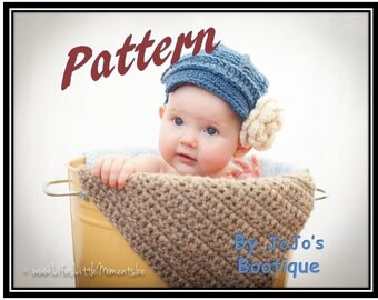 PDF Newsboy Hat PATTERN with Bonus Button on Flower Pattern - Baby Newsboy Hat Crochet Pattern - Newborn to 0 - 3 months -  by JoJosBootique