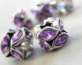Purple Faceted Marquise with Silver metal large hole beads, 10mm x 8mm, hole diameter 4mm, package of 5