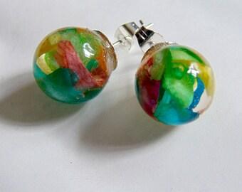 Rose Petal Earrings, Real Flower Earrings, Rainbow Jewelry, Flower Studs, Resin Studs, Eco Resin, Orb Earrings