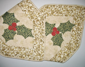Christmas Table Runner Appliqued Holly fabric from Robert Kaufman