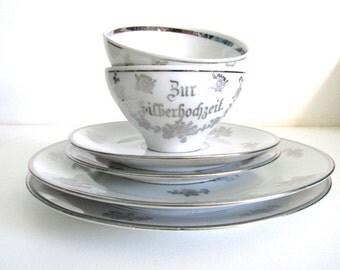 """25th Anniversary Plate Set - """"Zur Silberhochzeit"""" - Silver Wedding - Renewed Vows - Vintage German China"""
