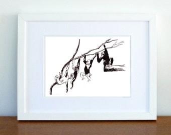 Print, Wall Decor, Illustration, Ink Monkey Gorilla Drawing, Nursery art - print 8x11.5 inch (21x29.5 cm)