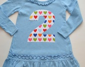 Girls Birthday Dress, Rainbow Party, Heart Tunic, Choose Age and Size, 1st 2nd 3rd 4th 5th 6th Birthday Shirt, Applique Number Ruffle Top