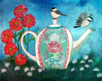 Chickadee Art Print, Shabby Cottage Chic Decor, Bird Wall Art, Teapot and Roses, Whimsical Art
