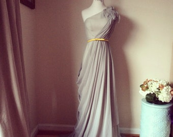 Perfect red carpet Dress-One shouldered grey chiffon dress-perfect for your bridesmaids, prom, graduation, formal event
