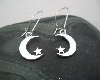 Silver Moon and Star Earrings - Celestial Silver Earrings - Simple Everyday Silver Earrings