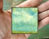 "2""x2"" mini art block, wood mounted print, mounted wood block, mixed media art, mini art, cloud art, blue, aqua, white, green ""Sky & Fields"""