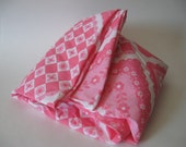 NOS crisp vintage retro floral twin fitted sheet gingham daisy pink and white